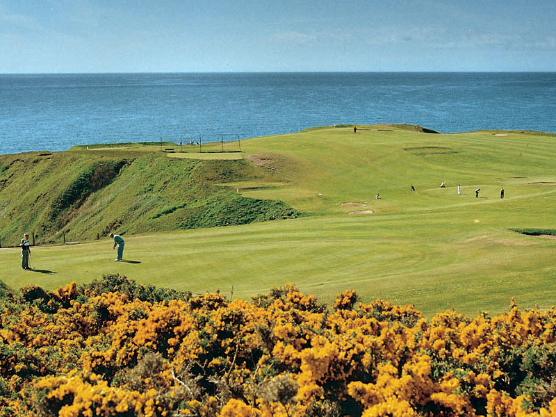 Great views and golf at Stonehaven Golf Club in Kincardineshire, Scotland